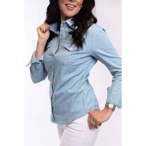 TU-1005 CLASSIC CHAMBRAY DENIM WITH PEARL SNAPS